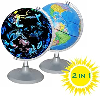 CYHO Illuminated World Globe - USB 2 in 1 LED Desktop World Globe, Interactive Earth Globe with World Map and Constellation View Fit for Kids Adults, Ideal Educational Geographic Learning Toy (G-1)