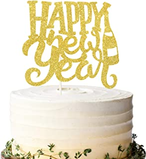 Gold Glitter Happy New Year Cake Topper Hello 2021 New Year's Eve Cake Decoration Merry Christmas 2021 Winter Festive Holi...