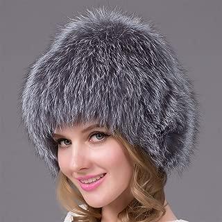 Guomao Women Winter Knitted Hat Fox Fur Hat to Keep Warm Fur Hat Fashion Knitted Fox Fur Ear Cap (Color : Gray)
