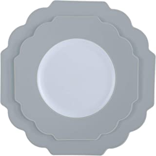 """Laura Ashley Salad-Dessert 8.5"""" Flower Shape Plastic Dinnerware Disposable Plates, Perfect for Special Occassions, Wedding..."""