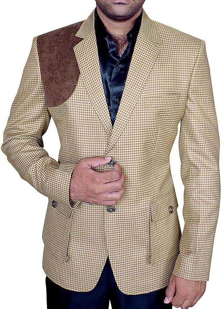 INMONARCH Mens Slim fit Casual Brown Check Blazer Sport Jacket Coat Designer Two Button SB50