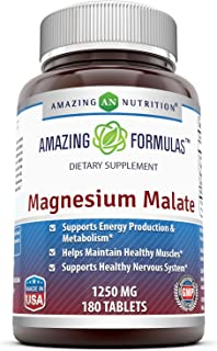 Amazing Nutrition Magnesium Malate - 1250 mg per Serving, 180 Tablets - Supports Energy Production, Healthy Metabolism, Muscles Function & Nerve Function*