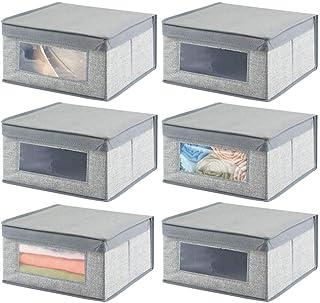 mDesign boîte de rangement empilable avec couvercle (lot de 6) – grand casier de rangement en fibres synthétiques avec hub...