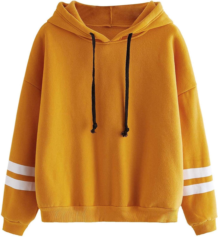 FUNEY Women's Stripe Cotton Sleeve Hooded Tops Blouse Fashion Casual Fleece Long Sleeve Pullover Sweatshirt Tunic