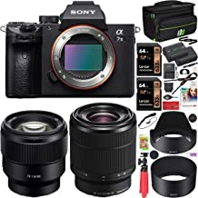 Sony a7III Full Frame Mirrorless Camera ILCE-7M3K/B with 2 Lens SEL2870 FE 28-70mm F3.5-5.6 OSS and SEL85F18 FE 85mm F1.8 Set + Deco Gear Case 2 x 64GB Memory Cards Extra Battery Kit Deluxe Bundle