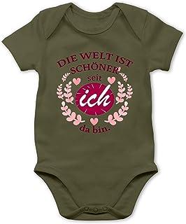 Shirtracer Strampler Motive - Die Welt ist schöner seit ich da Bin. - Baby Body Kurzarm für Jungen und Mädchen