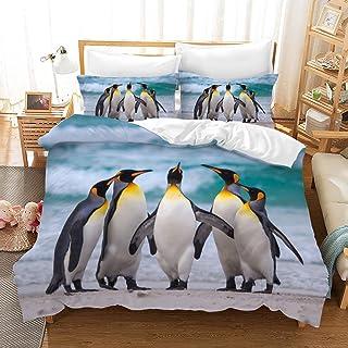 REALIN Funda Nórdica Bebé Pingüino Juego De Ropa De Cama Antártico Hielo Y Nieve Colcha 2/3/4PCS Fundas De Edredón Nórdico/Almohada/Sábanas,para Cama 90/135/150/180 (Cama 80/90(140×210cm)-4PCS,E)