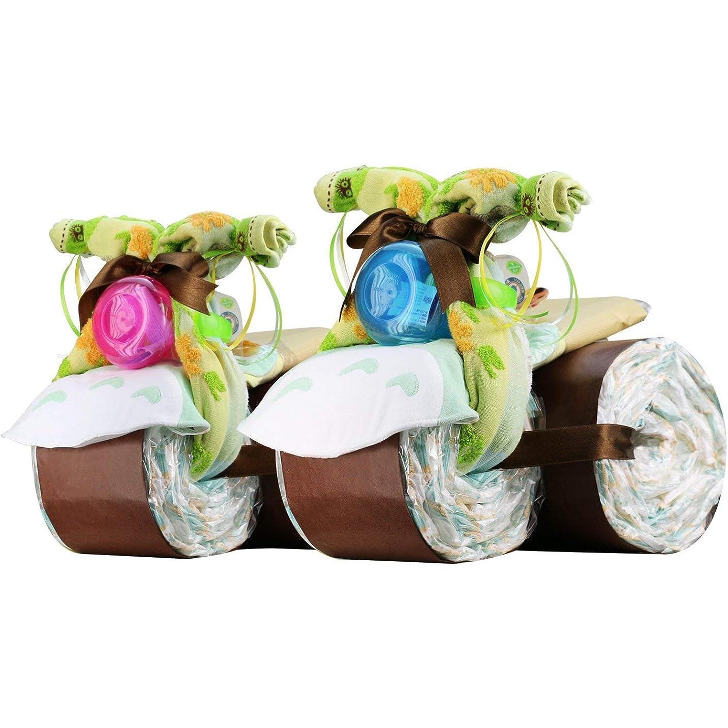 設計図淡いバルセロナスタジオジブリ となりのトトロ おむつバイク 出産祝い おむつケーキ 今治タオル imabari towel Nuby (パンパースパンツタイプMサイズ, 女の子向け(ピンク系))
