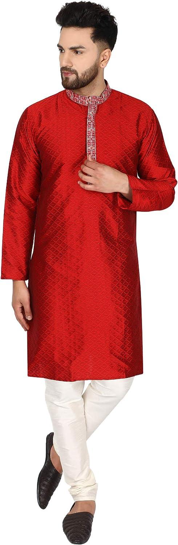 SKAVIJ Men's Art Silk Kurta Pajama Indian Traditional Suit Annivarsary Party Dress Set