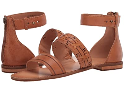 FRYE AND CO. Evie Whipstitch 2 Band Sandal (Almond Tumbled Leather) Women