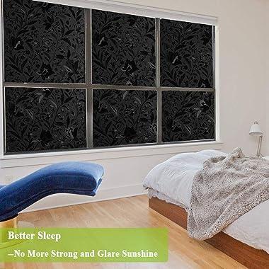 Total Blackout Window Film,100% Light Blocking Glass Door Film Etched Tulip,Room Darkening Window Cling,No Glue/Heat Control/