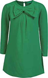 Arshiner Girls Long Sleeve Dress Solid Color Kids Causal Dress with Bow Tie