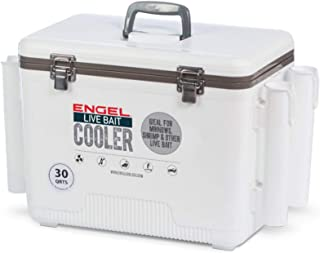 ENGEL Coolers Live Bait Cooler with Net & Four Rod Holders, White, 30Qt.