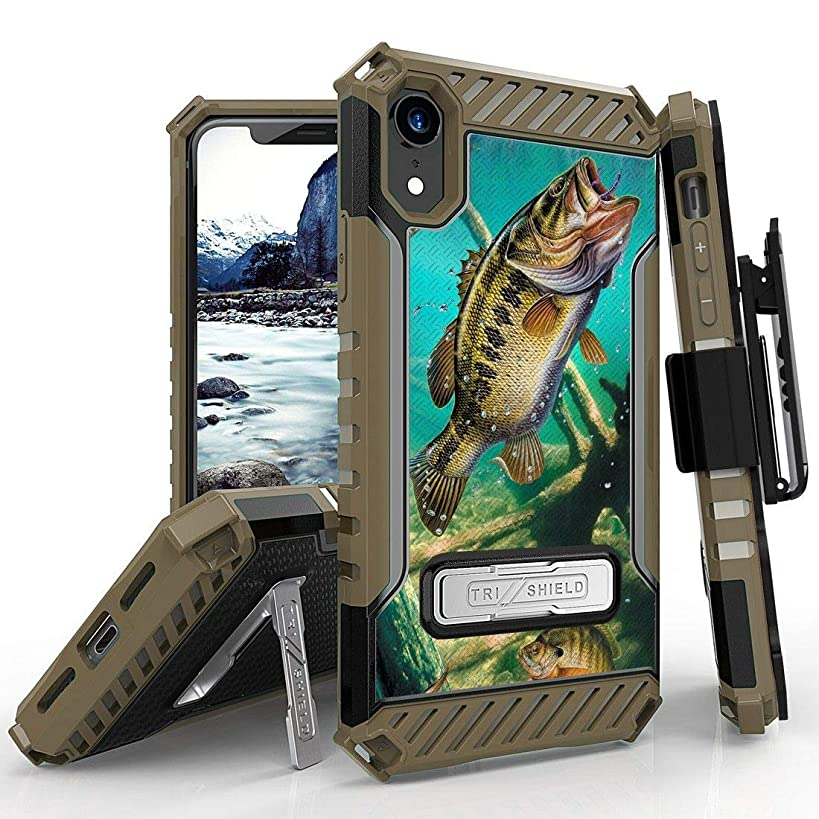 Beyond Cell Tri Shield Military Grade Shock Proof [MIL-STD 810G-516.6] Kickstand Case Cover with 360 Degree Rotating Swivel Belt Clip Holster for Apple iPhone XR - Bass Fishing