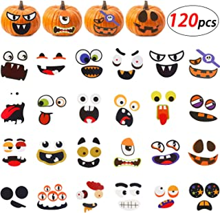 Blulu 120 Pieces Halloween Pumpkin Face Stickers Self Adhesive Stickers Pumpkin Craft Stickers DIY Stickers Kits for Treat or Trick Party Favors, 24 Designs (Total 12 Sheets)
