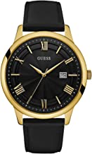 GUESS  Oversized Classic Black Genuine Leather Watch with Date. Color: Black/Gold-Tone (Model: U0972G2)