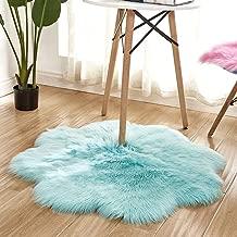 vmree Super Soft Wool-Like Faux Fur Area Rug Fluffy Antiskid Flower Shaped Warm Carpet Mat Baby Nursery Playmat Elegant Living Room Bedroom Hallway Home Office Decor (Light Blue, 3×3 Ft.)