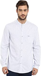 Mufti Men's Checkered Slim Fit Casual Shirt (MFS-9602-H-24_Off White_M)