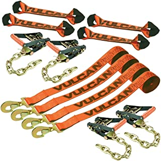 Vulcan PROSeries Optic Orange 8-Point Roll Back Vehicle Tie Down Kit with Snap Hook On Strap Ends and Chain Tail On Ratchet Ends (Set of 4)