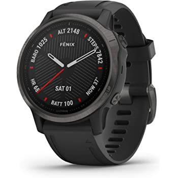 Garmin Fenix 6S Sapphire, Premium Multisport GPS Watch, Smaller-Sized, features Mapping, Music, Grade-Adjusted Pace Guidance and Pulse Ox Sensors, Black