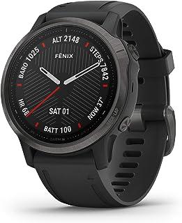 Garmin Fenix 6S Sapphire Smartwatch, Carbon Grey DLC with Black Band