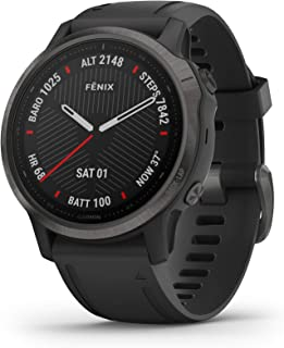 Garmin Carbon-Graphite Fenix 6S Sapphire Carbon Gray DLC with Black Band Wrist-Based Heart Rate¹ and Pulse OX² Sensors Add Insight to Your Fitness Activities