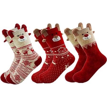 Christmas Socks 2 Pairs Ladies Women Reindeer Santa Snowman size 3-7