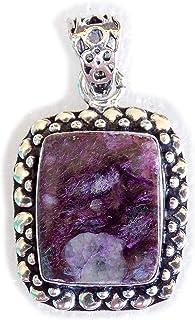 Charoite Pendant, Silver Plated Brass Pendant, Handmade Pendant, Gift Jewelry, Women Jewellry, Fashion Jewellry, BRS-12484