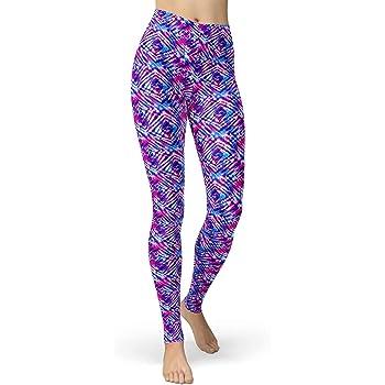 sissycos Womens Artistic Splash Printed 80s Leggings Brushed Buttery Soft Pants Regular and Plus Size