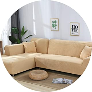 be-my-guest 2 Pieces Covers for L Shaped Sofa Jacquard Stretch Elastic Corner Sofa Cover Living Room Chaise Lounge Couch Covers Sectional,Beige,80-140cm 80-140cm