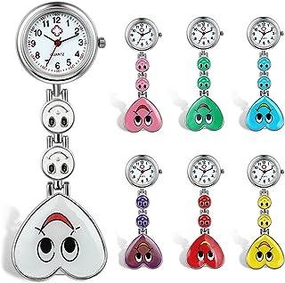 Lancardo Candy Color Smile Heart Face Nurse Clip Watch Medical Lapel Pocket Clasp Watch(7 Colors)