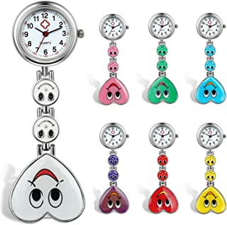 Lancardo Candy Color Smile Heart Face Nurse Clip Watch Medical Lapel Pocket Clasp Watch(7 Colors)