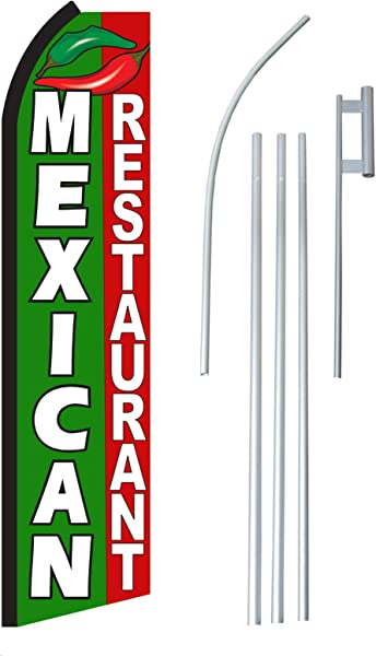 NEOPlex Mexican Restaurant Complete Flag Kit Includes 12 Swooper Feather Business Flag With 15 Foot Anodized Aluminum Flagpole AND Ground Spike