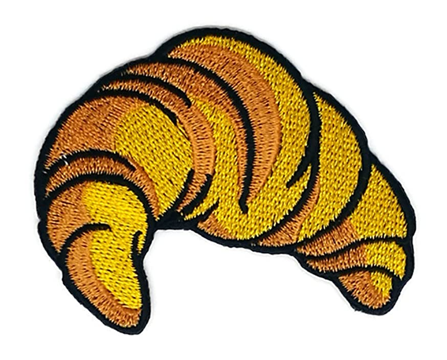 2.9 x 2.4 inches Brown Croissant Bread Patch Sew Iron on Embroidered Badge Symbol Custom