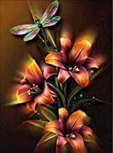 Sqailer Diamond Painting Full Round Drill Dragonfly Rhinestone Embroidery for Wall Decoration 12X16 inches