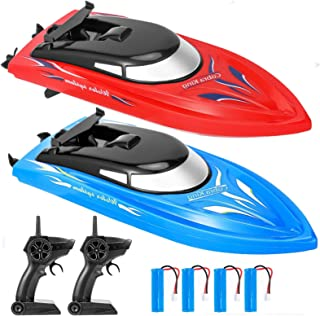 2 Pack Remote Control Boats for Pools and Lakes for Kids and Adults, 10 kmH 2.4 GHz Mini RC Boat Toy with 4 Recgargeable B...