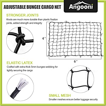 "Angooni 4' x 6' Heavy Duty Truck Bed Cargo Nets - Stretches to 8'x12', 4""x4"" Mesh Holes Bungee Pickup Truck Net with ..."
