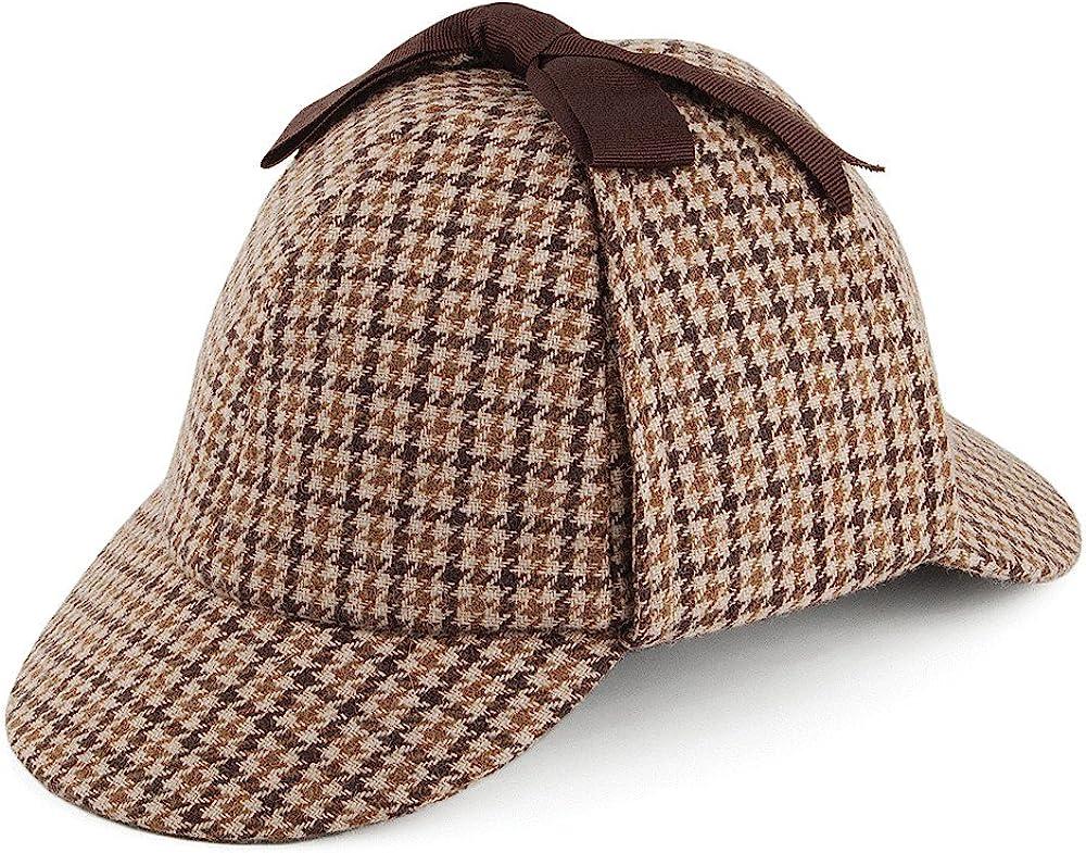 1930s Style Mens Hats and Caps Jaxon & James Houndstooth Sherlock Holmes Deerstalker Hat - Brown £25.95 AT vintagedancer.com