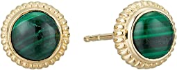 Coin Edge Earrings with Malachite