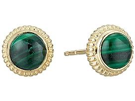 Coin Edge Earrings with Malachite
