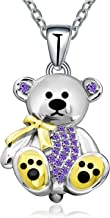 Teddy Bear Gift for Women Girl Sterling Silver Cute Animal Crystal Bear Pendant Necklace for Mother Daughter Birthday-Love-Apology-Party