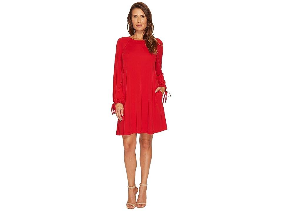 Karen Kane Tie Sleeve Swing Dress (Red) Women