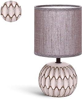 Aigostar - Lámpara de cerámica de mesa, cuerpo de diseño en relieve color tostado, pantalla de tela color marrón, casquillo E14. Lampara mesita noche, Perfecta para el salón, dormitorio o recibidor