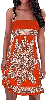 ReooLy Abito Senza Maniche da Donna Summer Fashion Bohemian O-Collo Abito Stampato e Vestito Lungo da Ginocchio Abito da Sera