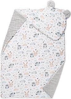 EliMeli Juego de manta para bebé con almohada, ropa de cama para bebé, manta con almohada para niñas y niños, manta con cojín para cochecito o cama (75 x 100 cm, diseño de búho), color gris