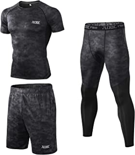 Audoc Mens 2 Pack Compression Shirts Cool Dry Athletic Workout Base Layers T Shirt