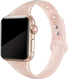 QusFy Sport Silicone Band Compatible with Apple Watch 38mm 40mm, Soft Silicone Shiny Glitter Bling Thin Slim Narrow Replacement Strap Compatible with iWatch Series 5, 4, 3, 2, 1, Sport & Edition Women
