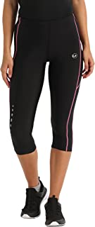Ultrasport Women's Running Pants Capri with Compression Effect & Quick-Dry-Function, Black/Neon Pink, XL