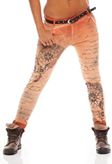 29b814daa377e9 ZARMEXX Ladies Boyfriend Baggy Pants Jeans Jeggings Stretch Chinos 10912  Letter-Fantasy -Stampa