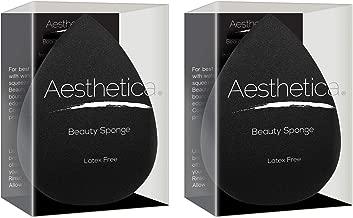 Aesthetica Cosmetics Beauty Sponge Blender - Latex Free and Vegan Makeup Sponge - For Powder, Cream or Liquid Application - 2 pack